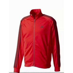 New Adidas Men's Essentials 3 Stripe Track Jacket - Red/Black Men's Medium